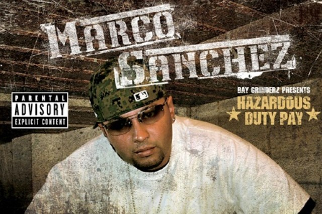 "Pfc. Marco Sanchez's new CD, ""Hazardous Duty Pay,"" was released in June by Bay Grinderz Records earlier this summer. Pfc. Sanchez is a fueler with Company A, 15th Brigade Support Battalion, 2nd Brigade Combat Team, 1st Cavalry Division, based out of Fort Hood, Texas, but currently deployed to Baghdad.  Courtesy, Pfc. Marco Sanchez"