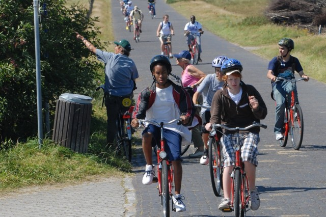 After arriving on Langeoog by ferry, some 80 children from U.S. military installations in Europe biked roughly two miles to their hostel.