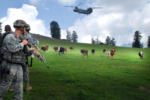 Soldiers secure a landing zone.