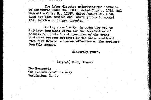 "A copy of Truman's order for the Army to return railroads to private control, May 23, 1952.  Reprinted in the report ""Army Operation of the Rail Transportation Systems, Pursuant to Executive Orders Nos. 10141 and 10155"" (Washington:  Office, Under Secretary of the Army, 1952)."