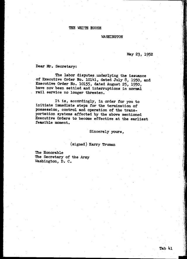 Truman's order to return railroads to private control