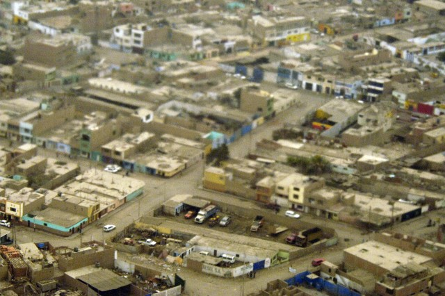 An aerial view of Pisco, Aug. 18. About 80 percent of the homes were destroyed and hundreds were killed.