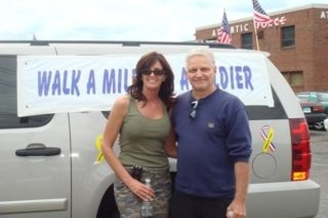 Bob Fransen heard about us on the news and came out and walked about 5 miles with us. His son is serving in Iraq, and he lives in Vernon, CT. He may try and join up with us again. Thanks Bob, it was wonderful to meet you.