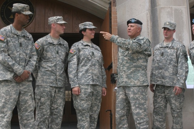 Gen. Richard A. Cody accompanied by the U.S. Military Academy (USMA) Cadet Corps staff and USMA superintendent, LTG Franklin L. Hagenbeck (far right).