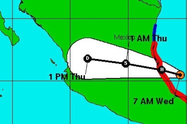 Hurricane Dean, shown in the orange dot at 7 a.m. (CDT) in the Bay of Campeche, with a forecast track through central Mexico.