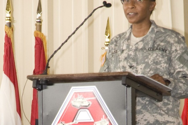 Col. Sherry Keller, the depot's 31st commander, makes brief remarks at the Change of Command ceremony.