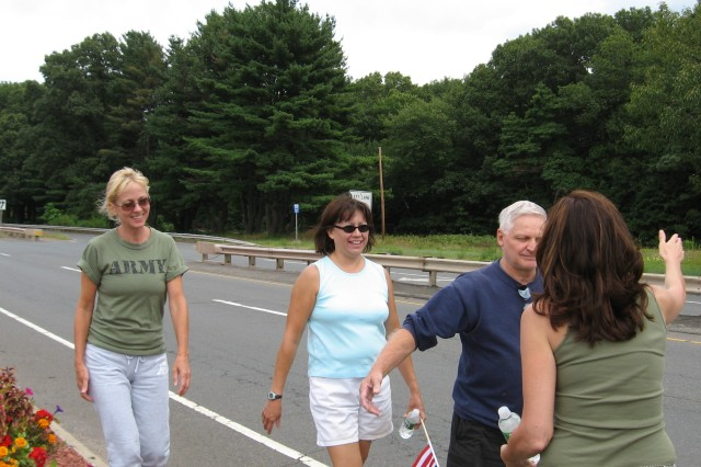Soldier-mom Marcia Hawkins meeting up with Bob Fransen from Vernon, CT., during the 'Walk A Mile for A Soldier' campaign.