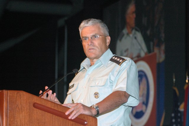 Gen. George W. Casey, Jr., speaking at the 129th National Guard Association of the United States General Conference in San Juan, Puerto Rico, on Aug. 26, 2007.