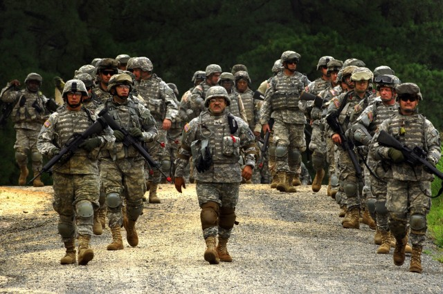 Soldiers from the 58th Infantry Brigade, Maryland National Guard, participate in mobilization training at Fort Dix, N.J., Aug. 6.