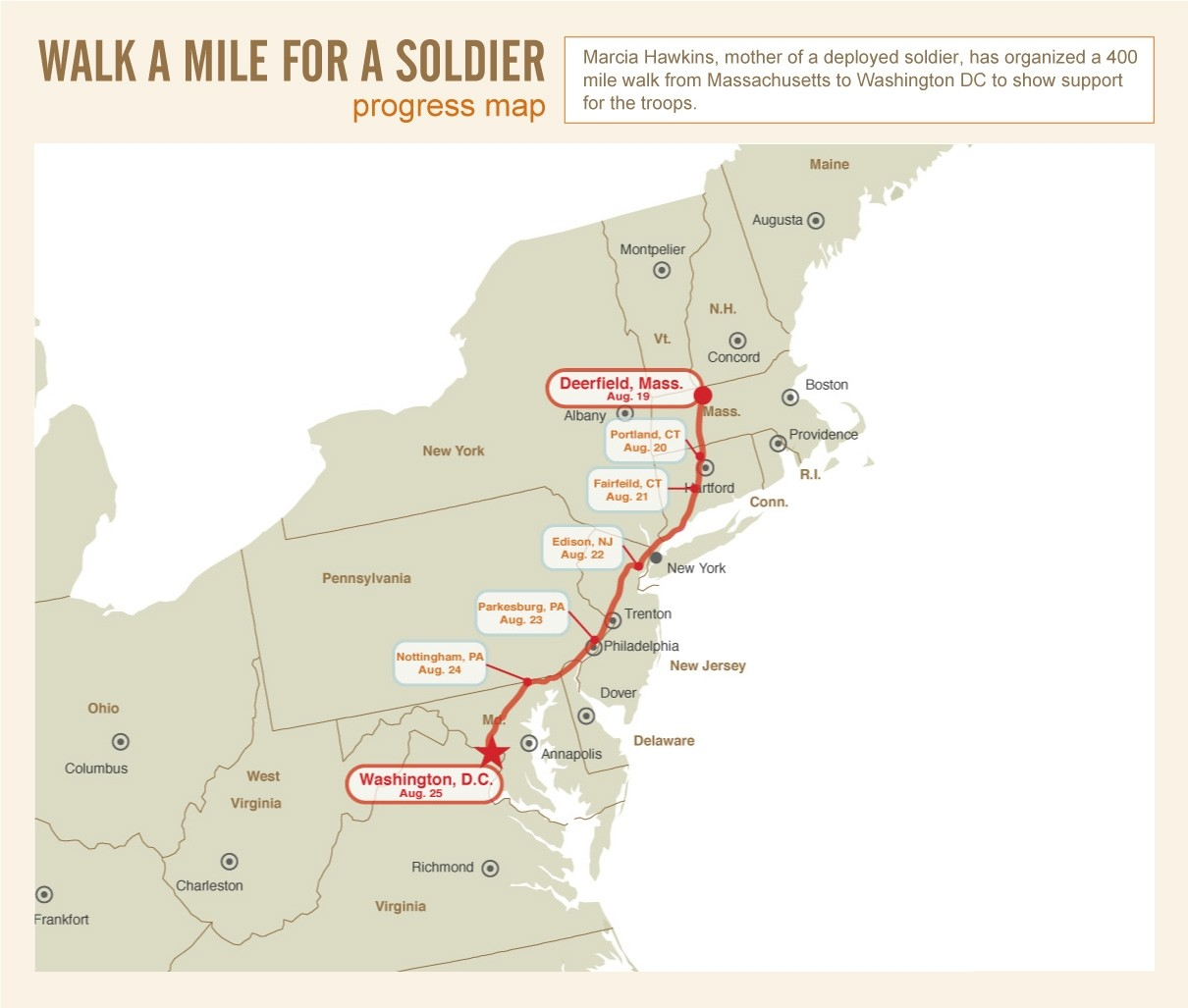 Walk A Mile For A Soldier Progress Map Article The - Us map miles