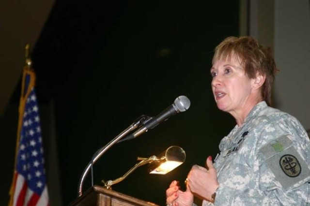 Maj. Gen. Gale S. Pollock addresses the American Legion Auxiliary upon receiving the Woman of the Year award Aug. 28 in Reno, Nev.