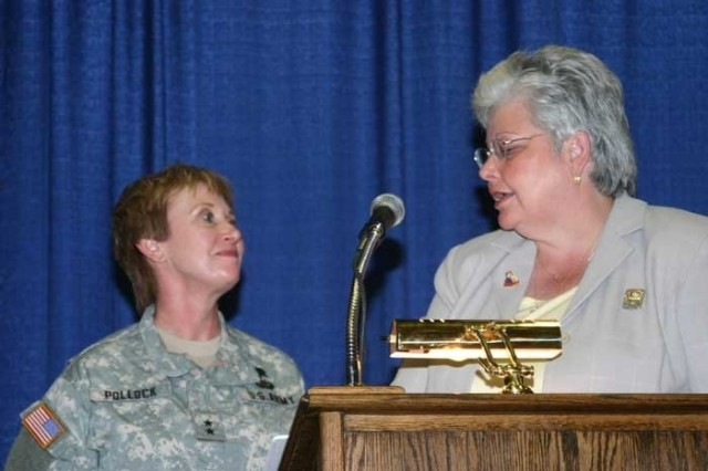 American Legion Auxiliary National President introduces Maj. Gen. Gale S. Pollock as the Woman of the Year Aug. 28 in Reno, Nev.