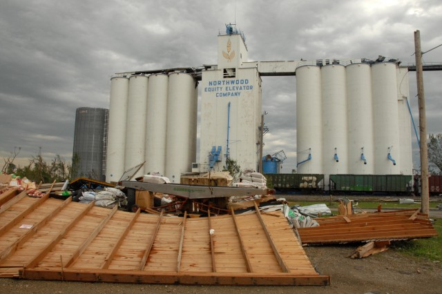 A grain elevator escapes destruction.
