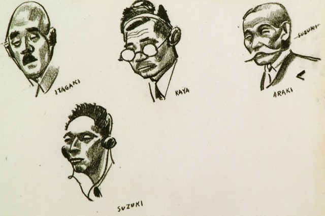 """Itagaki, Kaya, Araki and Suzuki"" - 1946 - Tokyo Japan.  Sketches of General Itagaki Seishiro (War Minister), General Suzuki Teiichi (president of the Cabinet Planning Board), Kaya Okinori, and General Araki Sadao (war minister), during the Tokyo war crime trials.  1946 - Tokyo, Japan.  From the collection of the U.S. Army Center of Military History."