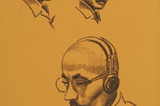 """Sketches of Tojo"" - 946 - Tokyo, Japan.  Sketches of Hideki Tojo, Japanese Imperial Army General and the 40th Prime Minister of Japan, during his war crimes trial.  From the collection of the U.S. Army Center of Military History."