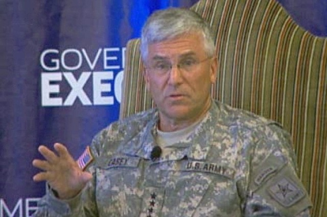 6 Sept. 2007.  Army Chief of Staff Gen. George W. Casey, Jr., speaking with writers at a Forum in Washington, D.C.