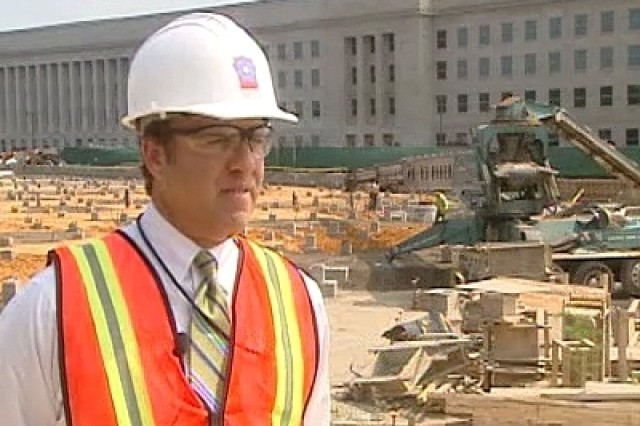 Jim Laychak (pictured) stands at the construction site of the Pentagon Memorial which will honor those lost during the 9-11 terrorist attack on the Pentagon.   Jim's brother Dave Laychak was one of the 184 victims that were killed on 9-11 at the Pentagon.