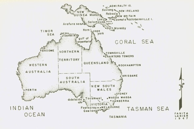 A map of New Guinea and Australia