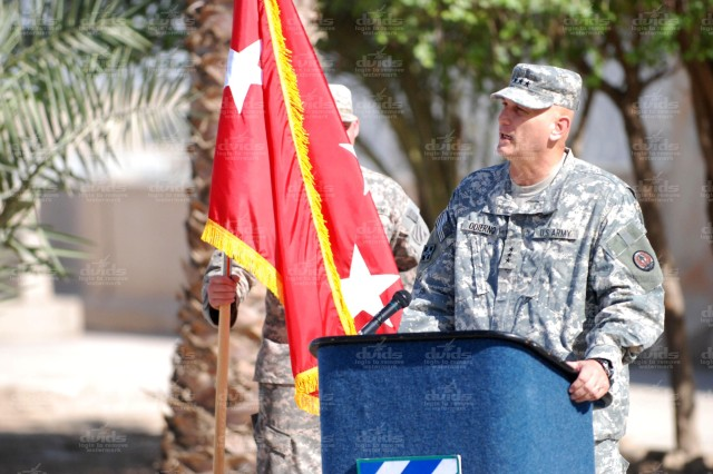 Multinational Corps - Iraq Commander Lt. Gen. Raymond Odierno speaks to Task Force Marne Soldiers during the ceremony.