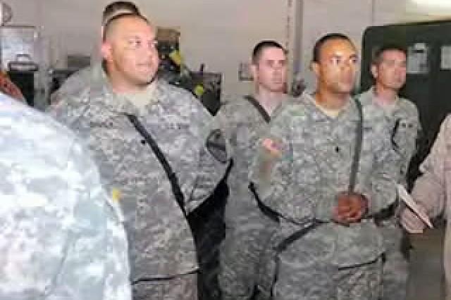 Armament Technicians Spc. Benjamin DeVia Jr., Spc. Joseph Baker, and Spc. Aaron Sims