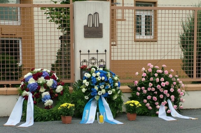 During a Sept. 11 ceremony at Kelley Barracks in Darmstadt, three commemorative wreaths were laid to remember the 9/11 attacks on the World Trade Center, the Pentagon and Flight 93.  The ceremony also marked the 63rd anniversary of the Sept. 11, 1944, bombing of Darmstadt during World War II