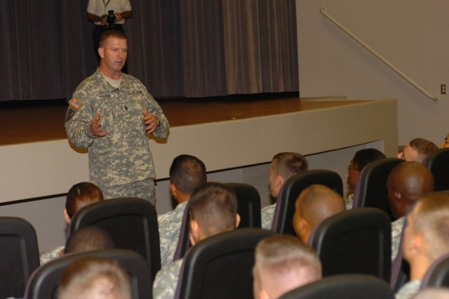 Sgt. Maj. of the Army Kenneth O. Preston speaks to Fort Riley Soldiers at Barlow Theater during a forum Sept. 5.