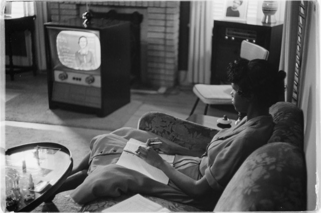 Photograph shows an African American high school girl being educated via television during the period that the Little Rock schools were closed to avoid integration.Library of Congress Prints and Photographs Division Washington, D.C. 20540 USA