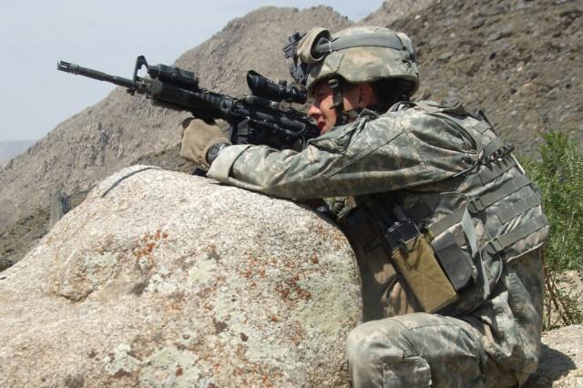Staff Sgt. Jason Geranan finds a good shooting position.