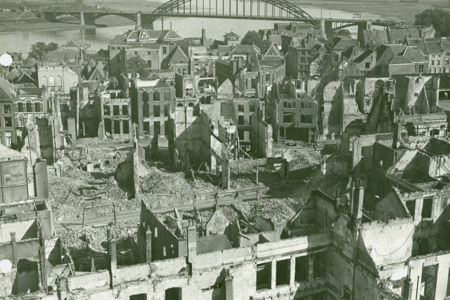 Panoramic view of the city of Nijmegen, Holland with the Nijmegen Bridge in the background.The city was hit by Allied and German bombardment and artillery shelling. (WW2 Signal Corps Photograph collection).