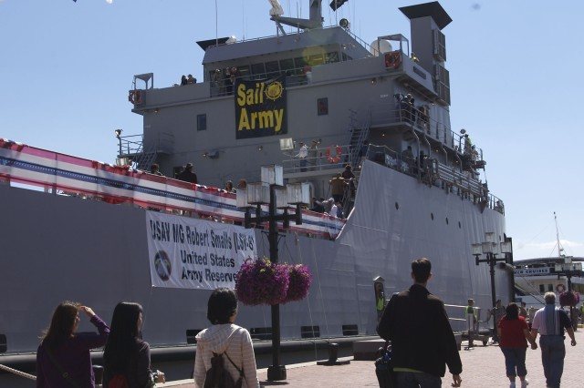 The USAV (U.S. Army Vessel) Maj. Gen. Robert Smalls was commissioned yesterday at a ceremony in Baltimore, Md. The first Army vessel to be named after an African American, the ship is operated by the Army Reserve's 203rd Transportation Detachment, and is intended to transport vehicles, equipment and personnel over long distances.