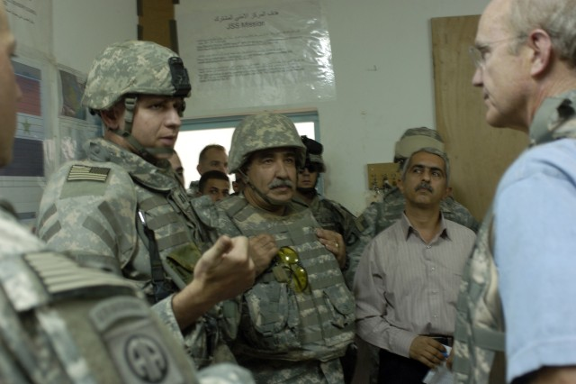 Secretary of the Army Pete Geren visits Soldiers deployed to Iraq, Sept. 13.