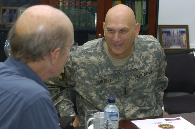 Lt. Gen. Raymond T. Odierno, commanding general of the Multi-National corps in Baghdad, meets with Secretary of the Army Pete Geren during the Secretary's visit through Iraq, Sept. 12. ""