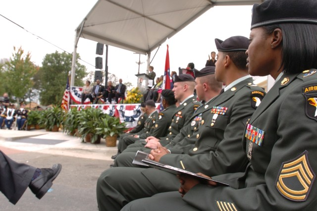 Soldiers from the 101st Airborne Division (Air Assault), take part in the Little Rock Central High School National Historic Site Visitor Center Dedication Ceremony, Sept. 24, 2007. The 101st Soldiers were invited to take part in the event because 11,500 Soldiers from the 101st Airborne Division were called in to Little Rock to help the Little Rock Nine enter Central High School, Sept. 25, 1957.