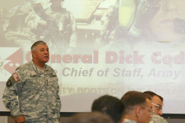 Vice Chief of Staff of the Army Gen. Richard A. Cody listens to a question from a captain during his visit with the Captains Career Course Sept. 19 at Fort Rucker's Adams Hall.