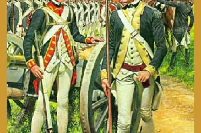 The troops in this painting wear the uniforms prescribed in the regulations of 1779 and supplied at the time of the Yorktown campaign.(The American Soldier series, US Army Center of Military History)