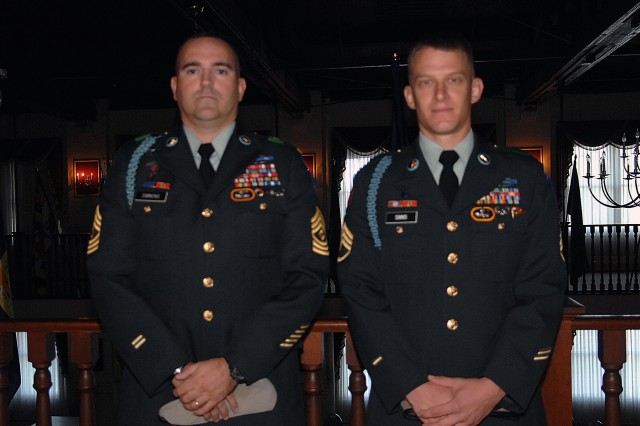 Sponsor 1st Sgt. Chris Simmons and contestant, Staff Sgt. Blake Simms, pose prior to the board appearance event of the 2007 Noncommissioned Officer of the Year competition Oct. 1, 2007.