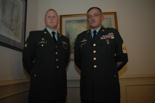 Sponsor, Command Sgt. Maj. Terry Lee, and contestant Spc. Erik Nowak pose just before Nowak's board appearance during the 2007 Soldier of the Year competition Oct. 1 at Fort Lee, Va.