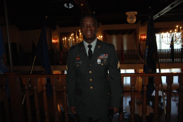Sgt. Sadat Allhassan, Third Army, poses after completing his board appearance during the Noncommissioned Officer of the Year competition Oct. 1 at Fort Lee, Va.