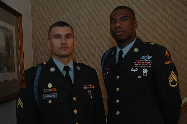 Contestant, Cpl. Mihai Mocanu, and Sponsor, Staff Sgt. Tambouzi Green, pose just prior to Mocanu's board appearance during the 2007 Soldier of the Year competition Oct. 1 at Fort Lee, Va.