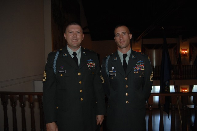 Sponsor Sgt. 1st Class Thomas Harper and contestant Staff Sgt. Mark Dornbusch pose just before Dornbusch's board appearance during the 2007  Noncommissioned Officer of the Year competition Oct. 1 at Fort Lee, Va.