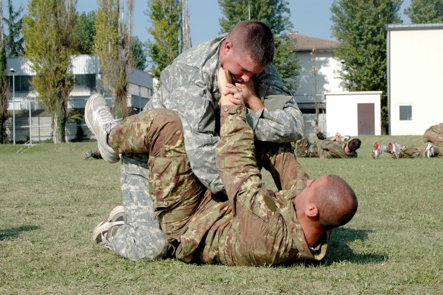 """During the hand-to-hand combat training Soldiers would """"battle"""" each other to get to know how it feels to perform the maneuvers they learned throughout the course."""