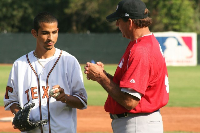 William Berrios receives instruction from Bruce Hurst, MLB International