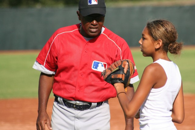 Major league baseball stars coach camp darby youth article the amanda oliver receives advice from german geigel mlb international outfield and base running instructor sciox Images
