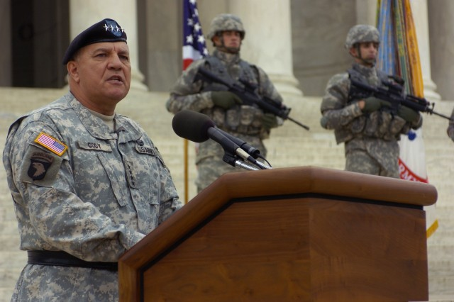 Vice Chief of Staff of the Army Gen. Richard Cody speaks during the Recruiting Mission Success Ceremony at the Jefferson Memorial in Washington, D.C., Oct. 4.