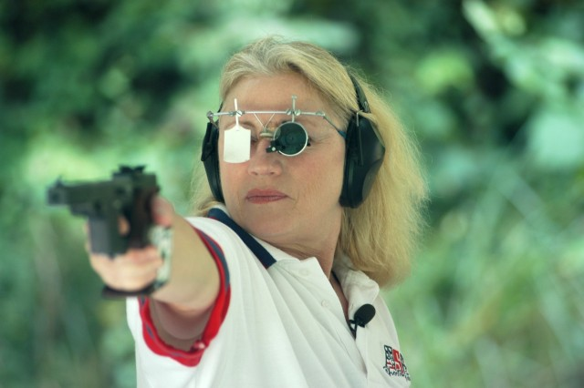 Army Reserve Staff Sgt. Elizabeth A. Callahan is a three-time Olympic international pistol shooter.