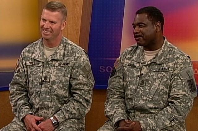 Sgt. Maj. of the Army Kenneth Preston and Sgt. Maj. Micahel Croom