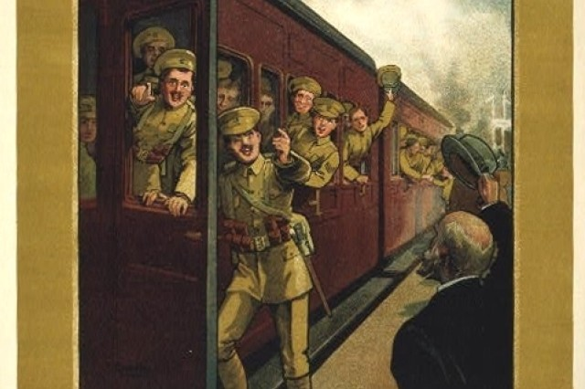Trains moved Soldiers during World War I, both in the United States, as this recruiting poster shows, as well as on the battlefields of Europe. Narrow-gauge railways led right up to the front.