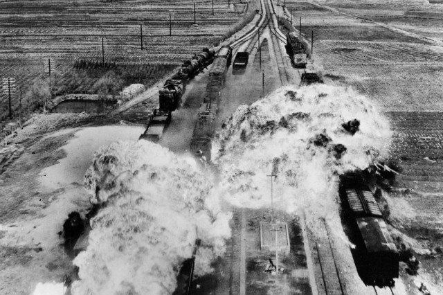 While trains were used to transport U.S. Soldiers and their equipment during the Korean War, trains in North Korea were targets of attack by U.S. and other U.N. forces. Here, U.S. forces target rail cars south of Wonsan, North Korea, an east coast port city.