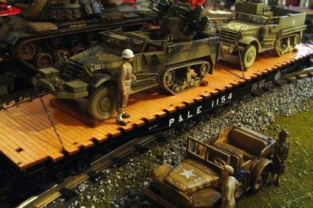A realistic World War II-era model train setting by Staff Sgt. A. Jonathan Born, Mississippi Army National Guard.