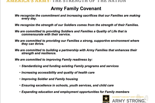 Slide documenting the Army Family Covenant as introduced by the Honorable Pete Geren, Secretary of the Army, during his keynote address at the 2007 Association of the United States Army convention in Washington, D.C.